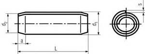 DIN 7343 spiral pins drawing