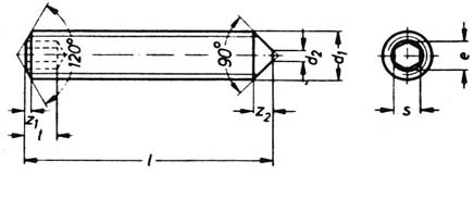 DIN 914 cone point socket set screws drawing
