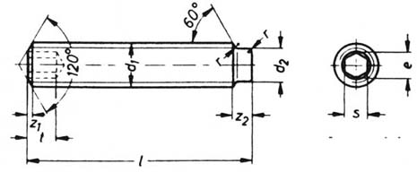 DIN 915 dog point socket set screws drawing